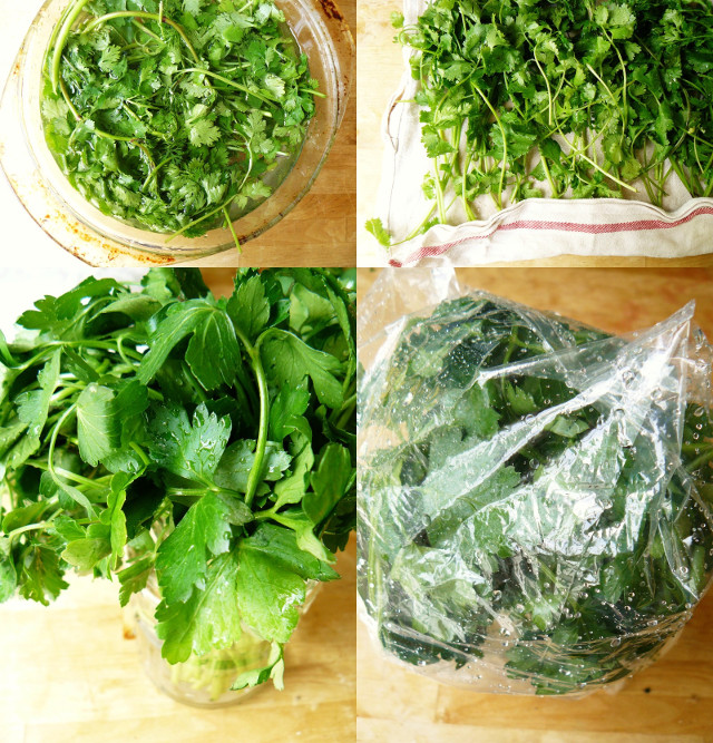 fresh parsley and coriander