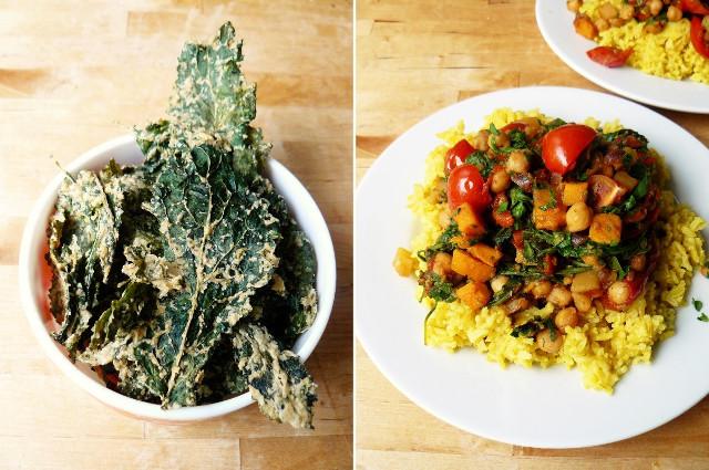 kale crisps - chickpea dish