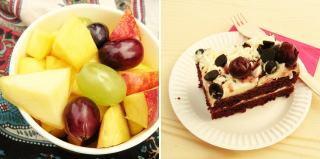 Keltfest fruit salad and red velvet cake