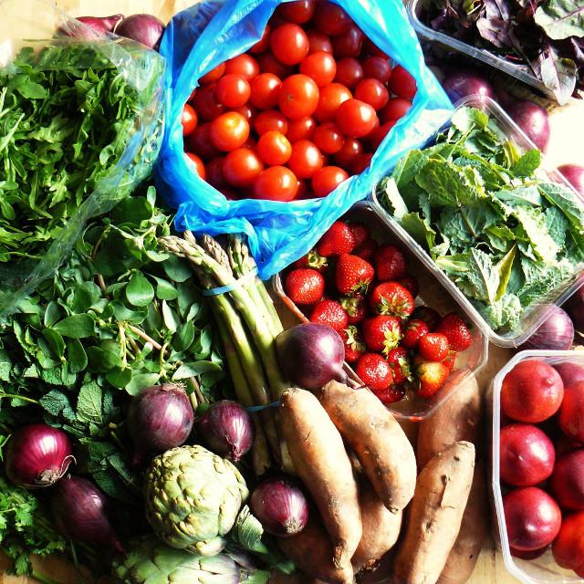 market haul - asparagus, artichokes, purslane
