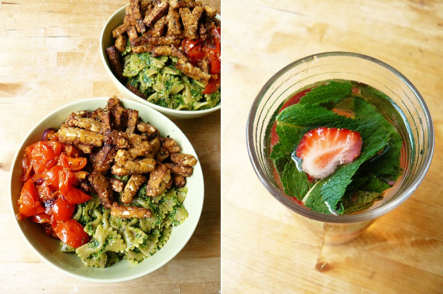 tempeh pesto pasta - strawberry mint water